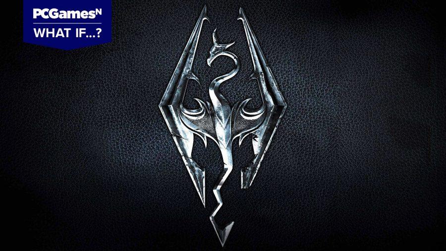 Skyrim logo on a leather surface