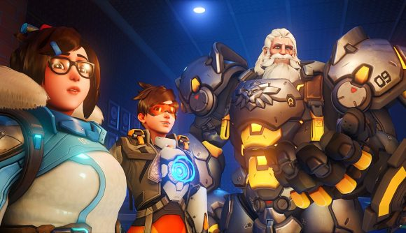Mei, Tracer, and Reinhardt in Overwatch 2