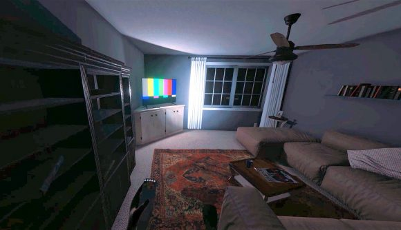 A Phasmophobia room with a TV and ghost hunting