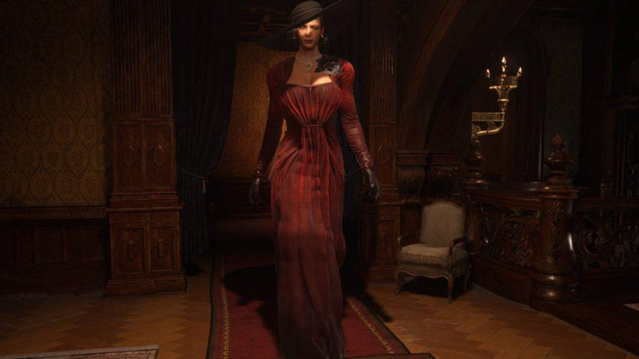 Этот мод для Resident Evil Village заменяет леди Димитреску на Аду Вонг в длинном красном платье.
