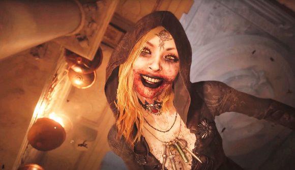 Maiden standing over Ethan in Resident Evil Village