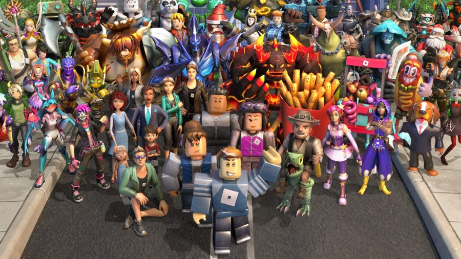 Several Roblox characters with varied skins assemble together