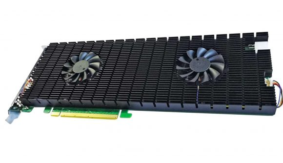 Large SSD unit with its own heatsink and two fans