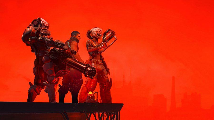 The Ascent squad standing on a ledge against a crimson skyline