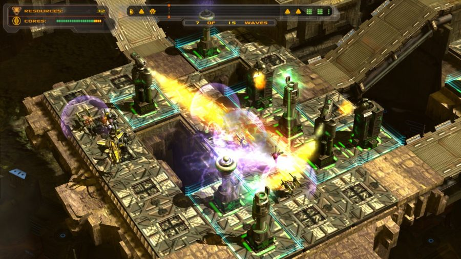 Towers blast plumes of fire at oncoming mechs