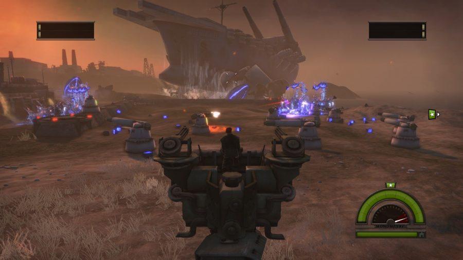 Gun turrets shooting purple insectoid aliens