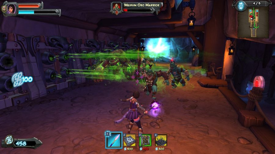 Orcs of various sizes head through traps and weapons as they approach a woman with a magical wand