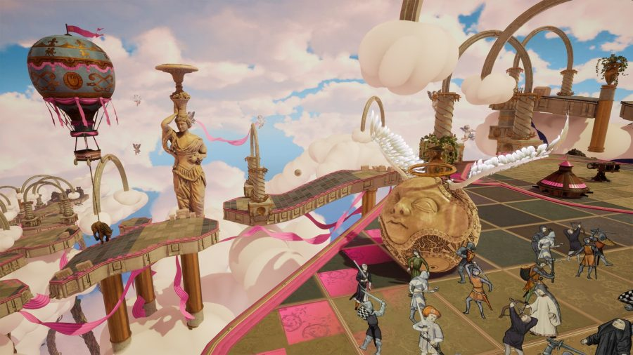 A pink embellished level in the clouds; a giant ornate ball with angel wings and a human face sits on a tiled path