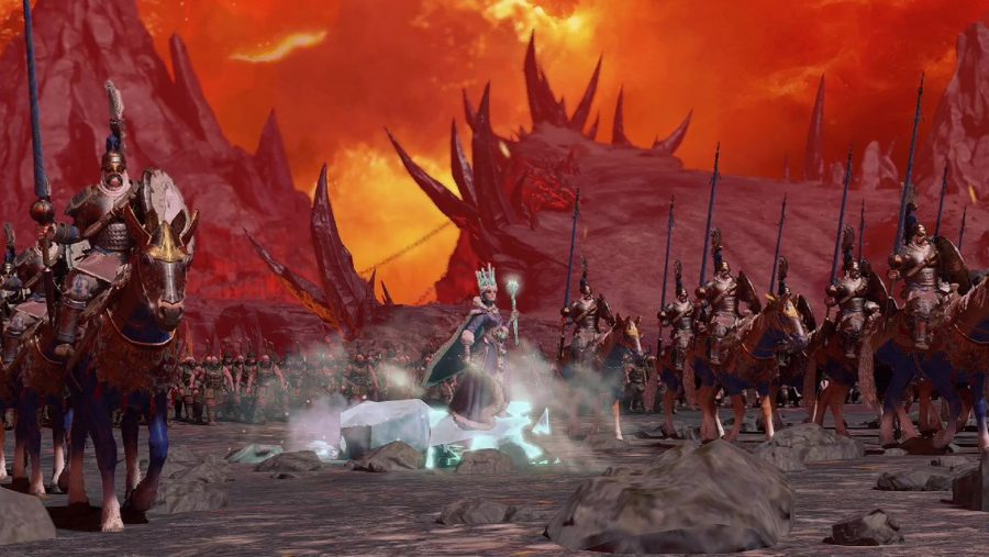 Tzarina Katarin skates across the map on ice, flanked by warriors in warhammer 3