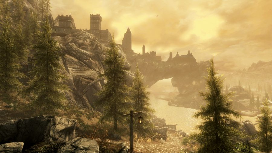 View of a city in Skyrim at dusk