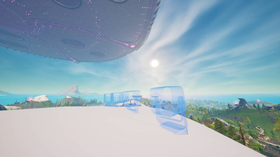 The space for the Fortnite alien light communicators that are placed on the tall mountains.