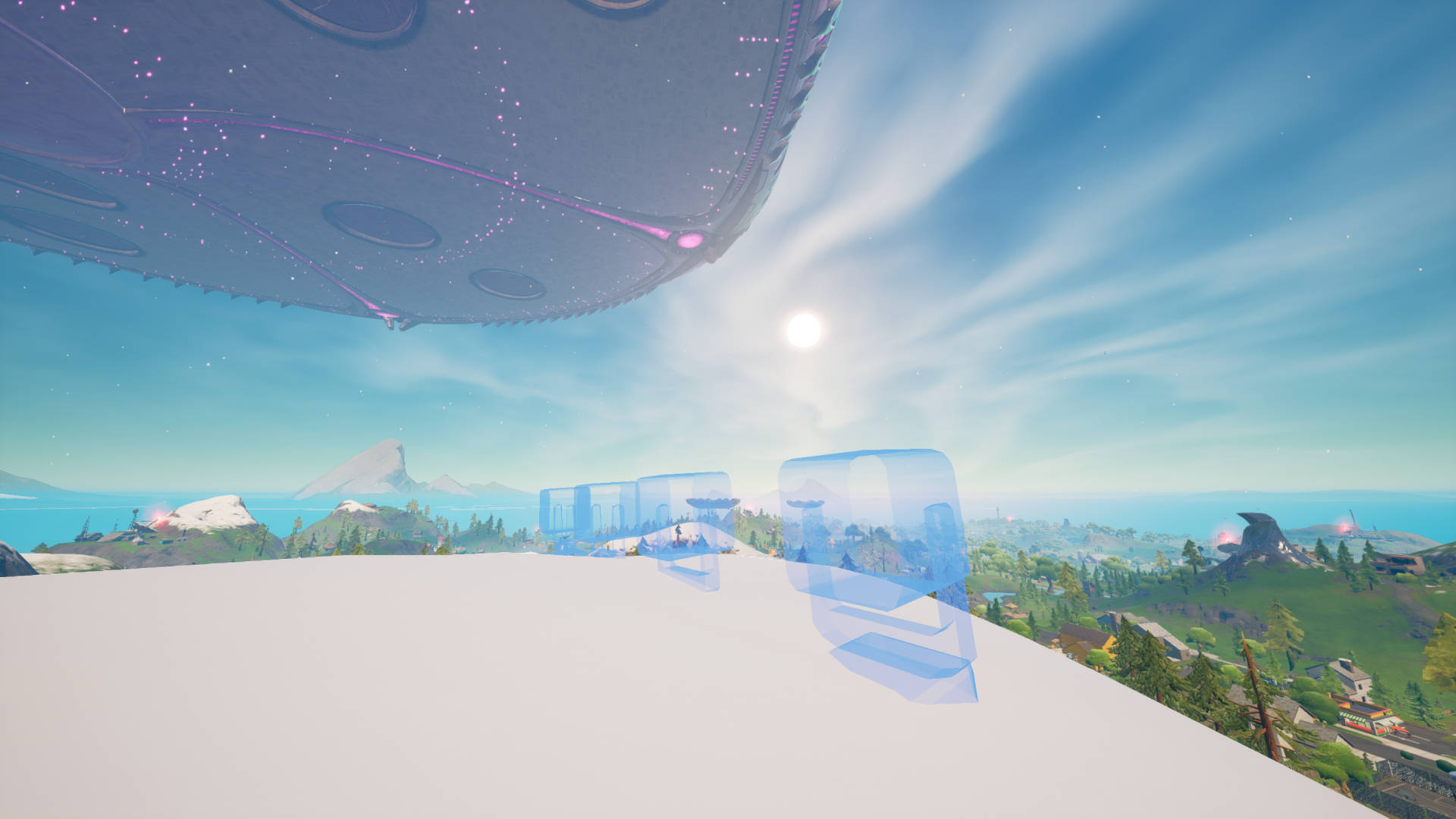 Fortnite – place alien light communication devices on mountain tops