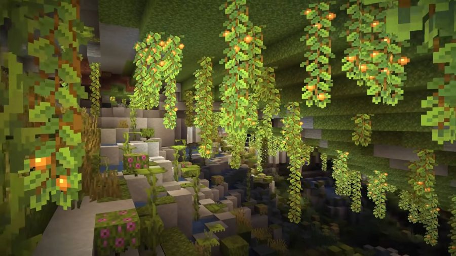 A look at the Lush Caves in the Minecraft 1.18 update.