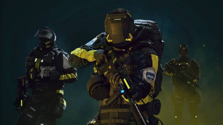 A three-person team of operators in Rainbow Six Extraction.