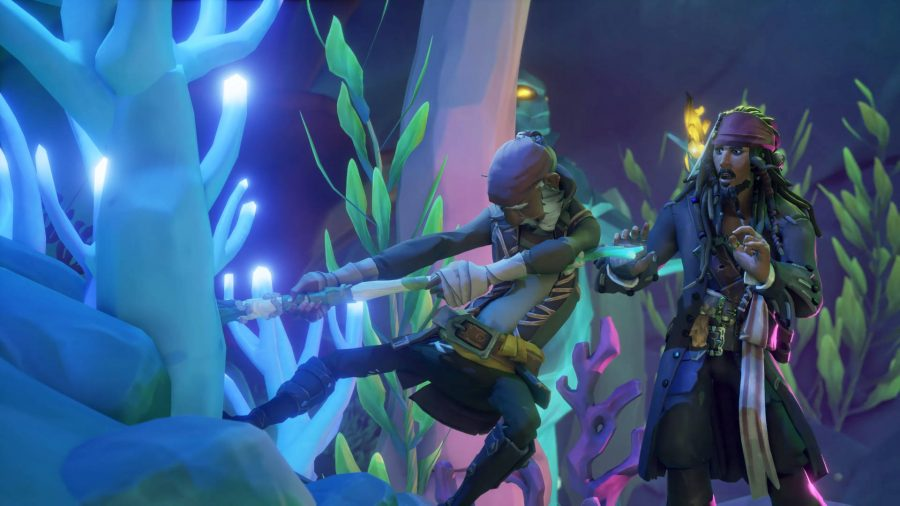 A pirate pulling the Trident of Dark Tides out of a stone in Sea of Thieves. Jack Sparrow looks surprised.