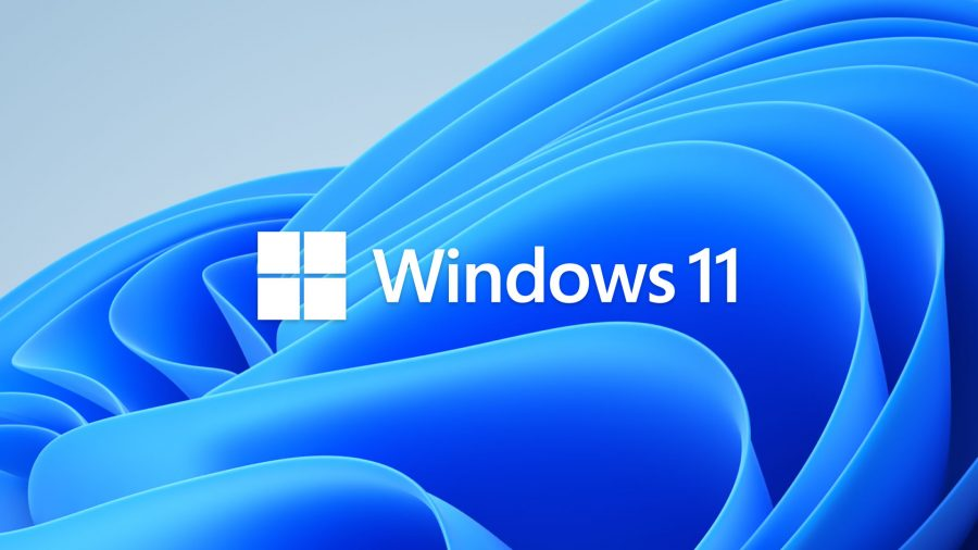 Windows 11's logo with rounded blue corners to reflect the new operating system