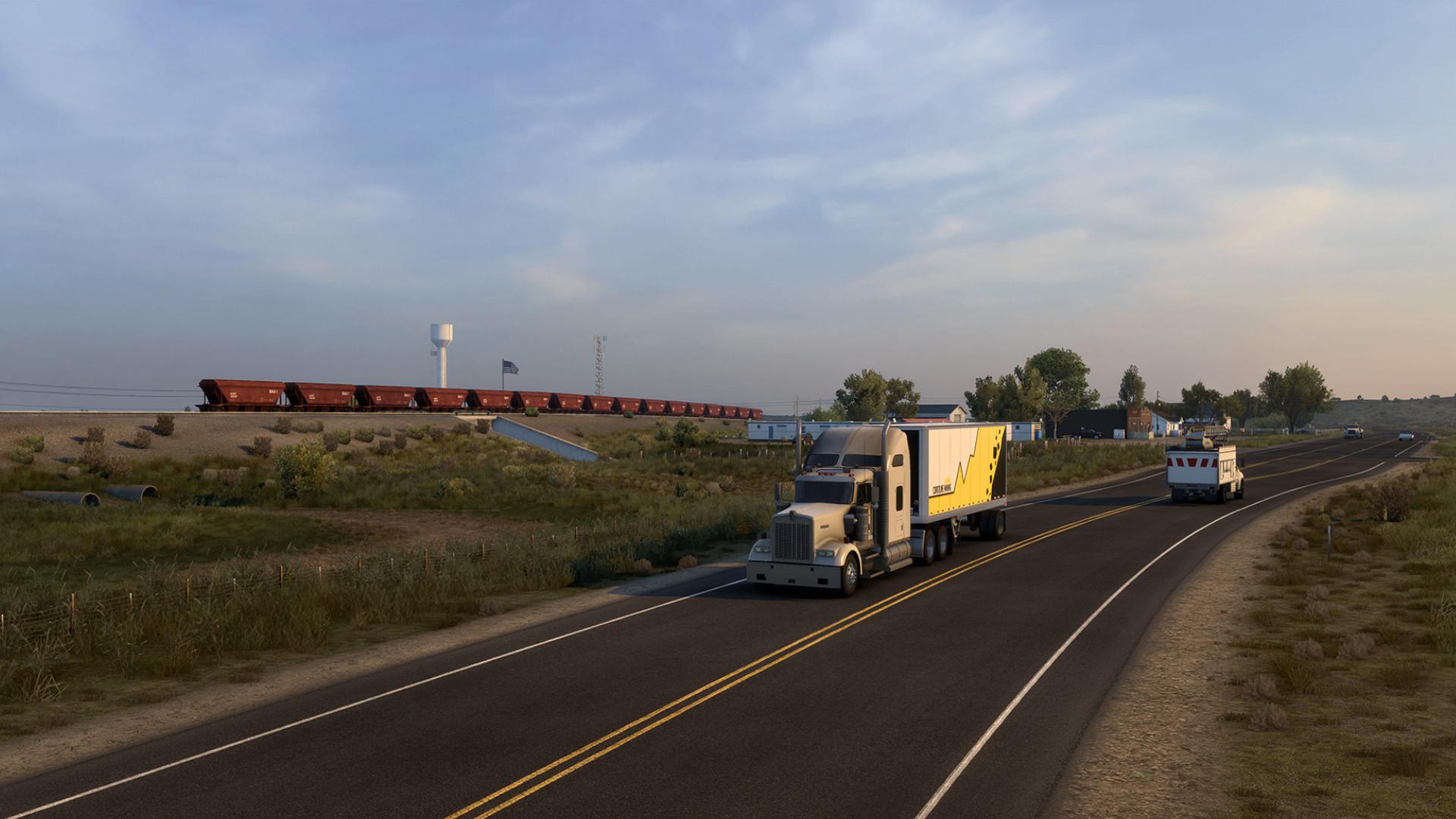 Here's 25 minutes of someone driving around Wyoming in American Truck Simulator