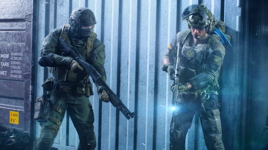 Two soldiers in Battlefield 2042 holding a shotgun and assault rifle in front of a cargo container