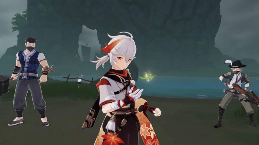Kazuha está mirando una hoja mientras los enemigos lo rodean.
