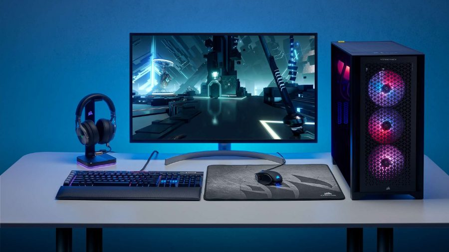 A white desk complete with RGB peripherals