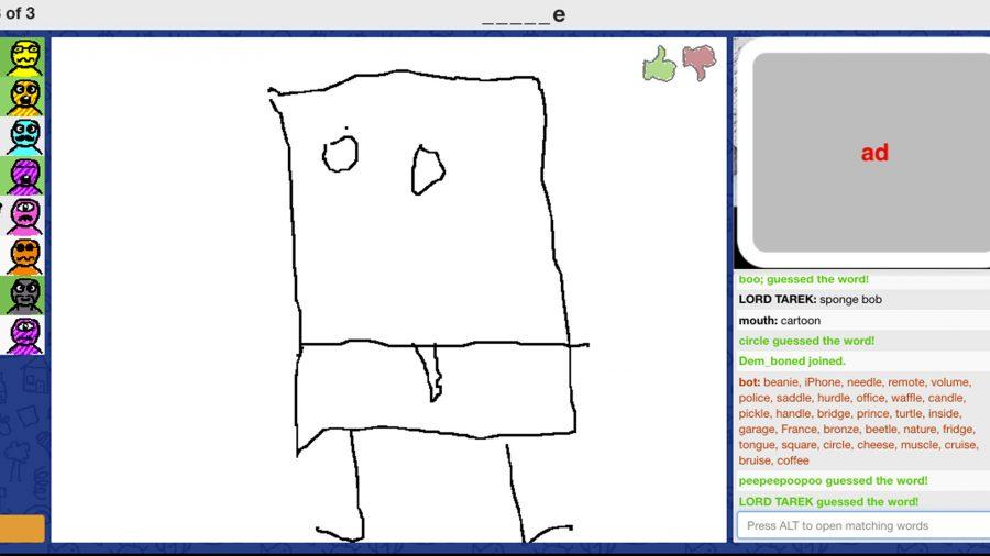 A player in Skribbl.io attempting to draw Spongebob Squarepants