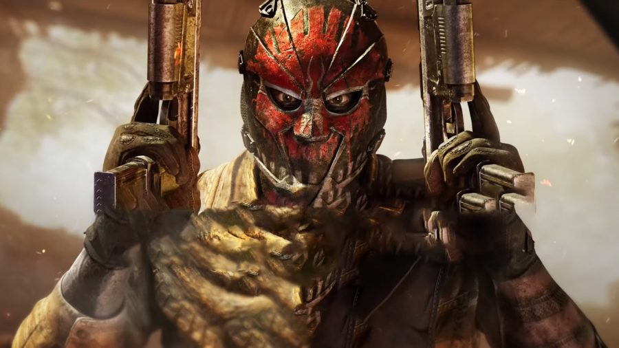 A man wearing a red mask holding a pistol in each hand