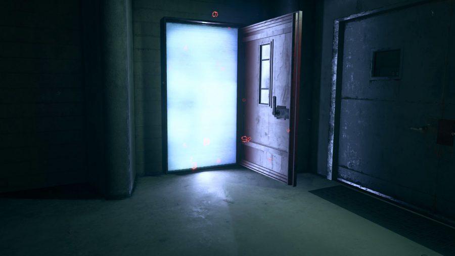The open red door located in Summit