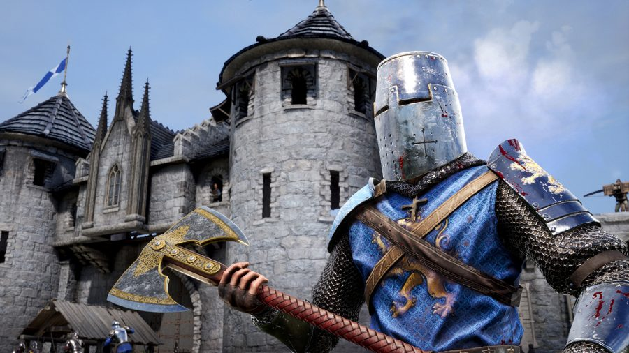 A man holding an axe in Chivalry 2