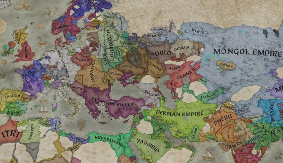 A late game political map shot from Crusader Kings 3