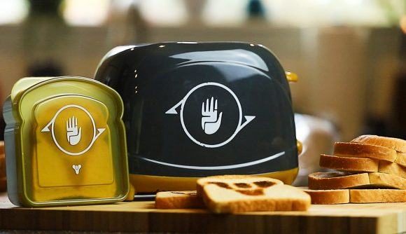 A Destiny 2 toaster and a heap of bread