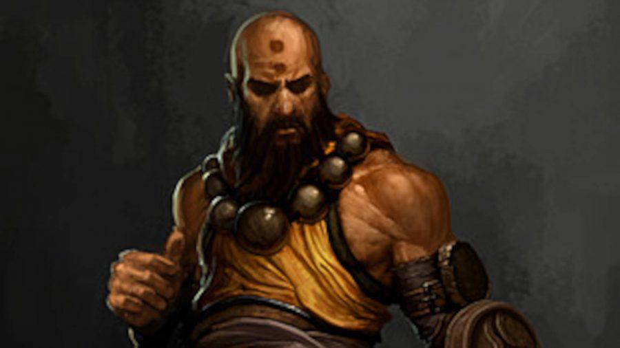 Монах принимает боевую стойку в Diablo 3.