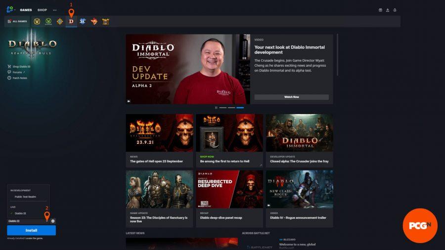 В приложении Battle.Net вы можете получить доступ к PTR, щелкнув Diablo 3, а затем стрелку рядом со значком установки.