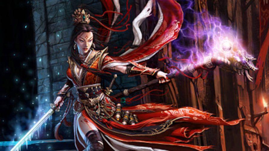Волшебник, читающий заклинания в Diablo 3.