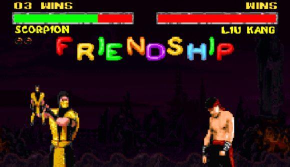 Scorpion pulling off a friendship move in MK2