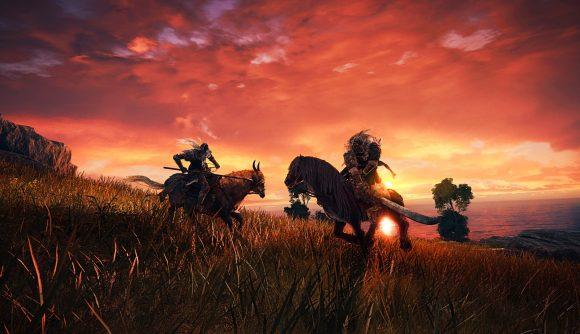 Two characters slash on a field in Elden Ring
