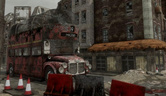 A shot of a Fallout: London street from the huge Fallout 4 mod