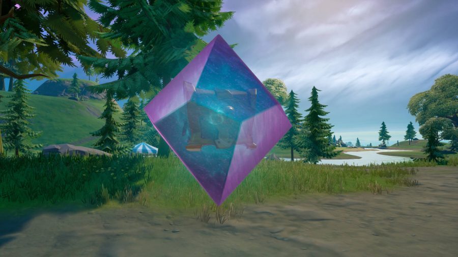 A Fortnite cosmic chest, encased in crystal that needs to be broken by multiple players.