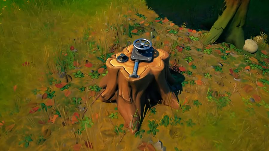 One of the Fortnite dead drops. It looks like a tree stump with a wheel locking mechanism.