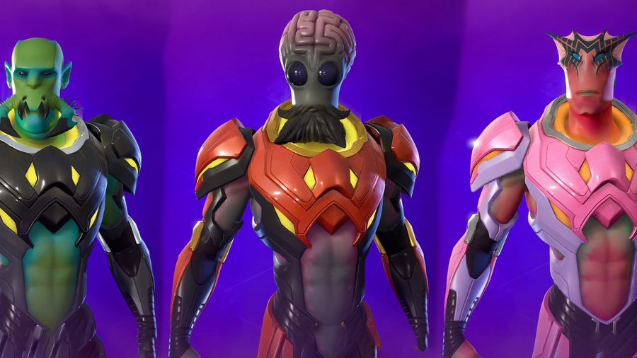 Three Kymera aliens in Fortnite with three unique styles