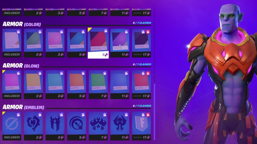 The orange colour armour on the Kymera alien in Fortnite