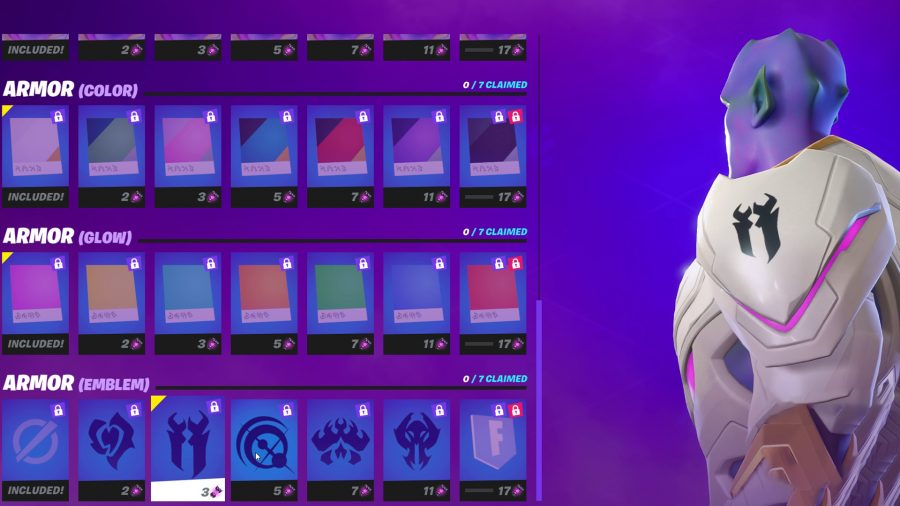 An armour emblem on the armour of the Kymera alien in Fortnite
