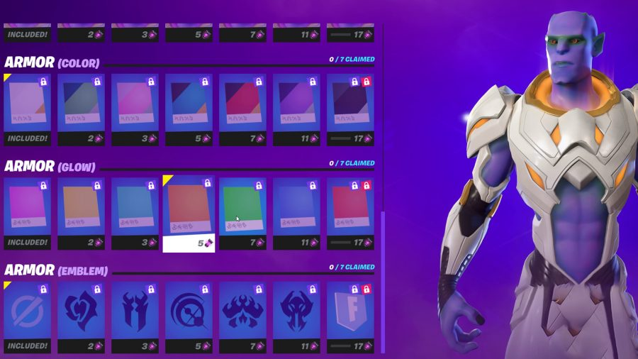 The orange armour glow of the Kymera alien in Fortnite
