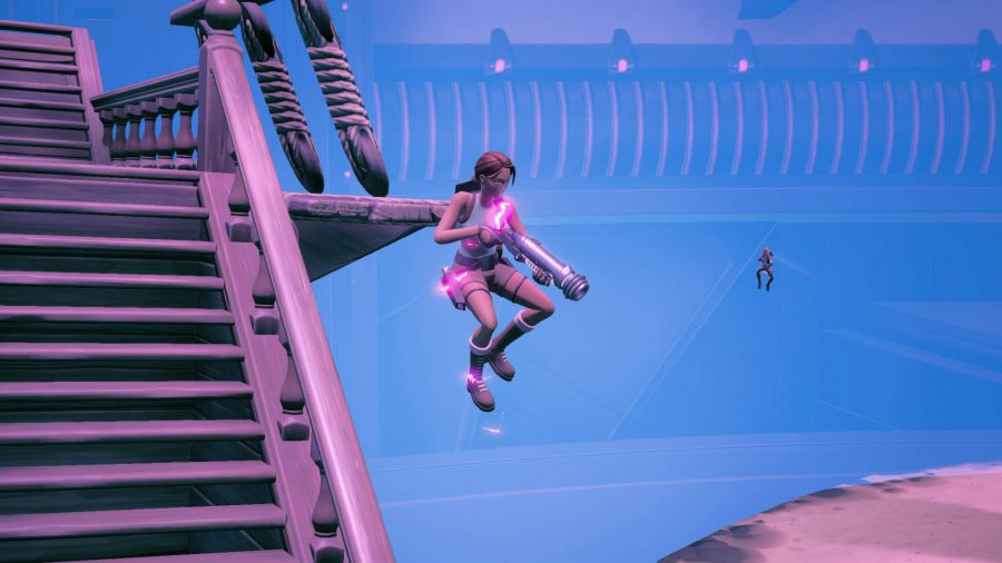 Lara is leaping down while shooting a shot in the Fortnite mothership minigame.