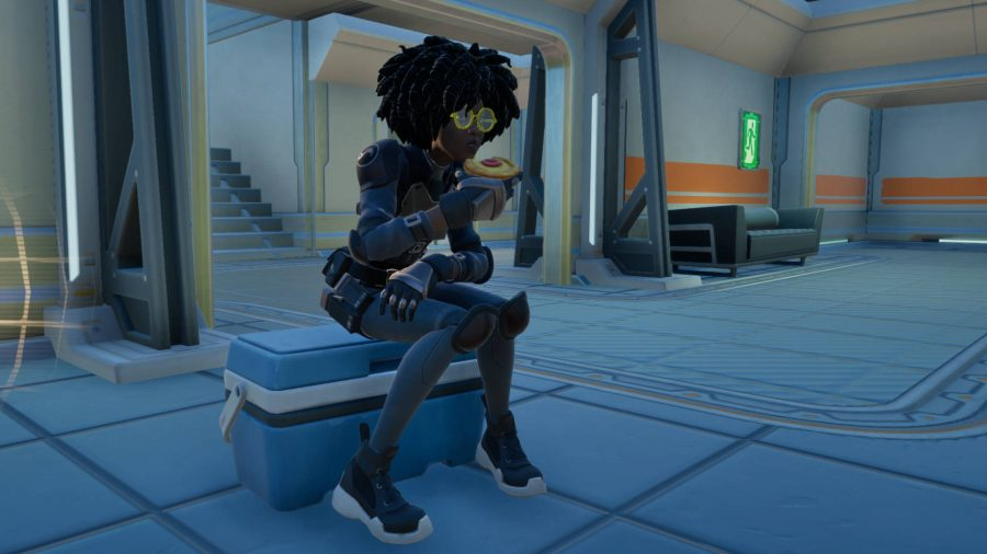 Doctor Slone, one of the Fortnite NPCs, eating a pastry while sat on a cooler..