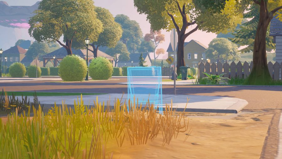 An open park area in Fortnite's Pleasant Park to drop a welcome sign down