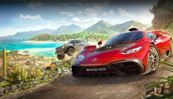 A promo image from Forza Horizon 5 featuring a red sports car and two SUVs in the Mexican backdrop