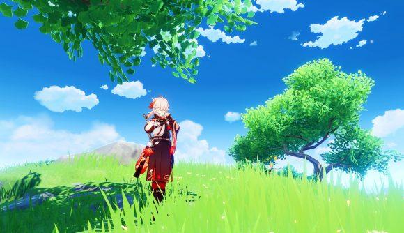 New Genshin Impact character Kazuha playing a flute