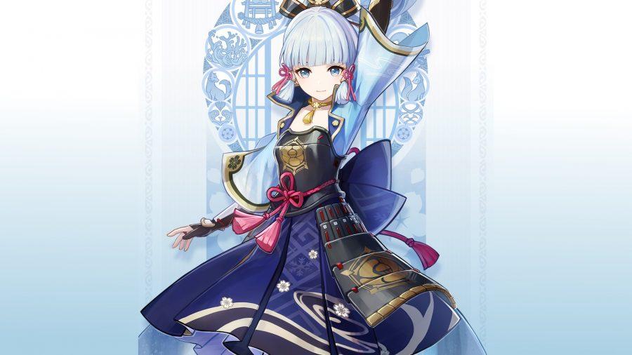 Genshin Impact new character Ayaka raising a hand above her head