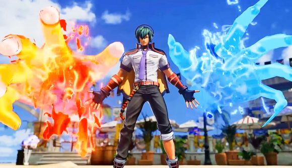 A character from King of Fighters 15 takes the stage