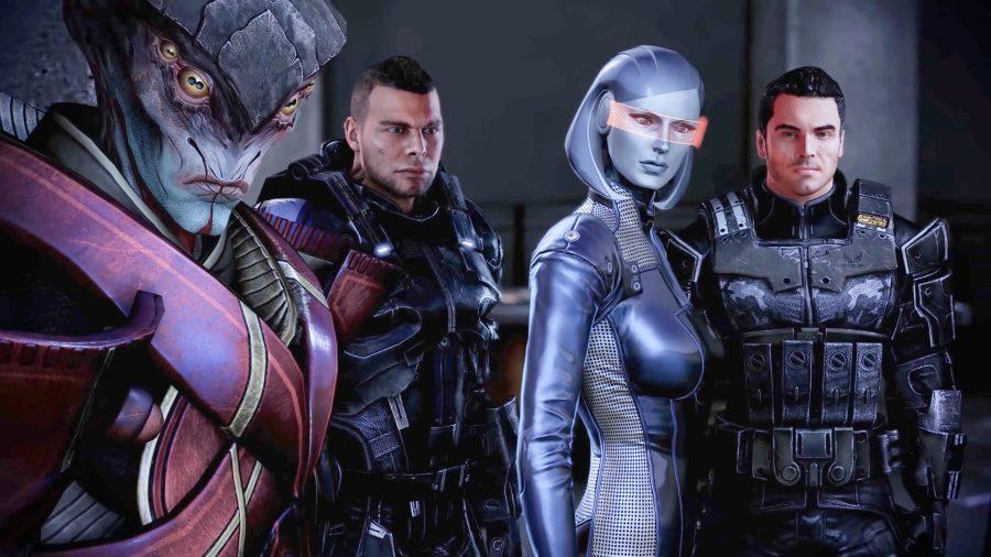 Four Mass Effect squadmates, Javik, James, EDI, and Kaidan
